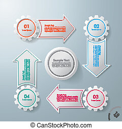 4 Gears With 4 Arrows Cycle - Colorful infographic gears...