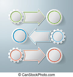 3 Options With Gears And Circles - Colorful infographic...
