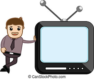 Man Standing with Retro TV Vector - Conceptual Drawing Art...