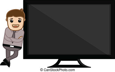Man Standing with Monitor Vector - Conceptual Drawing Art of...