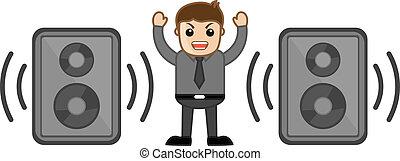 Irritating Man - Loud Speakers - Conceptual Drawing Art...