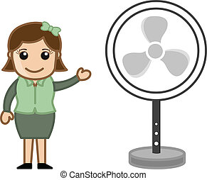 Girl Showing Table Fan Vector - Conceptual Drawing Art of...