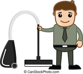 Man Holding Vacuum Cleaner Vector - Conceptual Drawing Art...