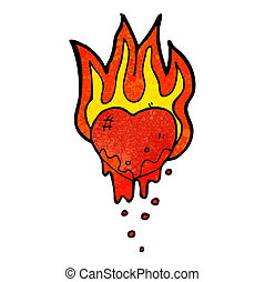 flaming heart cartoon