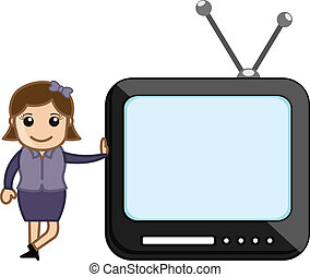 Girl Standing with TV - Conceptual Drawing Art of Cartoon...