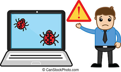 Man Showing Virus Infected Computer