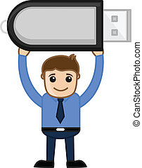 Man Holding a Storage Pen Drive - Drawing Art of Cartoon...