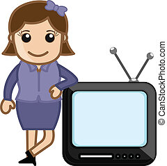 Young Lady Standing with TV Vector - Drawing Art of Cartoon...