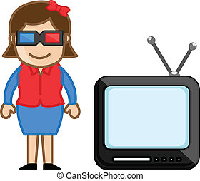 Girl with 3d Glasses and TV - Conceptual Drawing Art of...