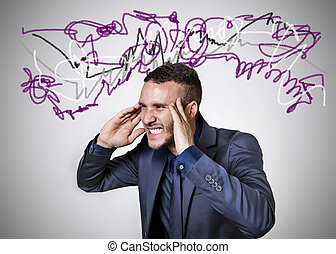 stressed man with colored lines on a white background