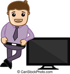 Man Standing with Monitor - Young Cartoon Salesman...