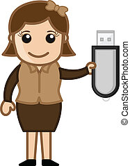 Girl with Pen Drive Vector - Drawing Art of Cartoon Young...