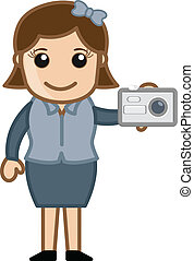 Girl Showing Digital Camera Vector