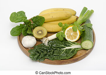 Alkaline diet - A wooden tray with Alkaline diet vegetables...