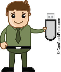 Man Showing Pen Drive - Drawing Art of Cartoon Businessman...