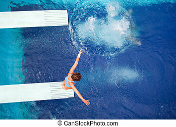 springboard jump  - High diver jumping into the water