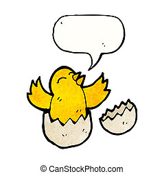 cartoon chick hatching from egg