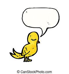 karikatur, Vogel, vortrag halten, Blase