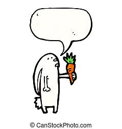 cartoon rabbit holding carrot