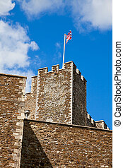 Dover Castle with waving Union Jack