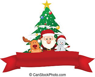santa claus, reindeer and snowman - Vector Illustration Of...