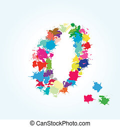 number zero splash illustration - vector number zero splash...
