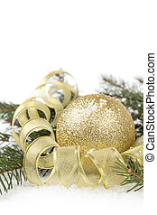 christmas tree twig with ball composition, with white copy...