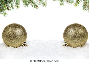 christmas tree twig with balls composition, with white copy...