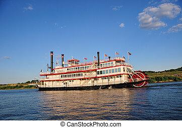 Paddle Wheel Boat - A paddle wheel boat cruising up the Ohio...