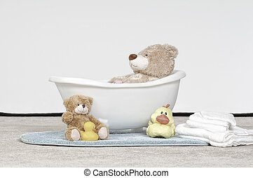 Papa Bear Takes A Bath - Plush bear toy in a baby bathtub...