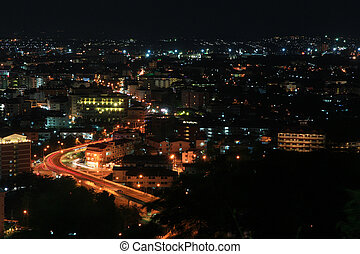 Bird View of Pattaya City at night, famous tourist...