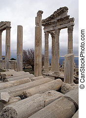 Columns of Trajan temple in Bergama, Turkey