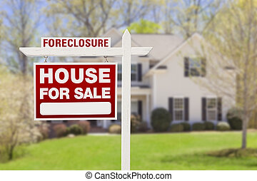 Foreclosure Home For Sale Sign in Front of House - Red...