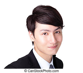 Young handsome business man with great smile isolated on...