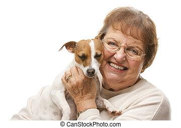 Happy Attractive Senior Woman with Puppy - Happy Attractive...