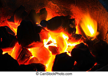 Burning wood in hot stove, Thailand traditional style of...