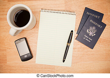 Coffee Pad, Pen, Passport - Overhead Pad, Pen, Passports,...