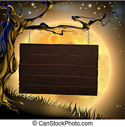Halloween Tree Sign Background - A scary Halloween wood sign...