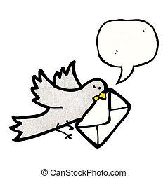 cartoon carrier, pigeon
