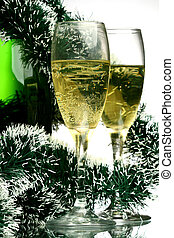 New Year card - New Year\\\'s card with a champagne...
