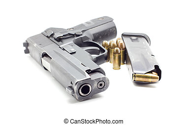 pistol with ammo on white background - pistol with ammo...