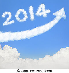happy new year 2014, Go Go Go! white cloud and blue sky on...