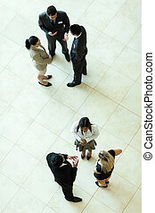 above view of business meeting - above view of group of...