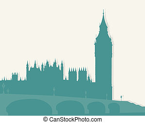 Illustration, image of London - Famous architectural...