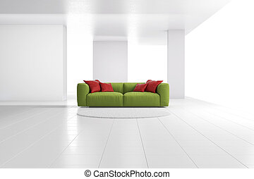 Green sofa in bright room wide - Green sofa in bright room...