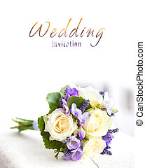 Wedding bouquet with yellow roses and lavender flowers