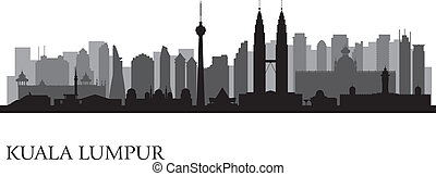 Kuala Lumpur city skyline. Vector silhouette illustration