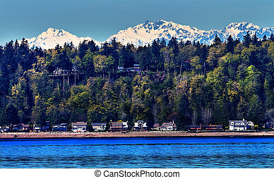 Bainbridge Island Puget Sound Snow Mountains Olympic...
