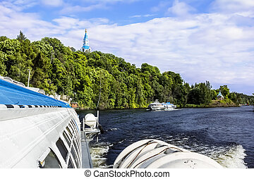 Hovercraft sail from the island of Valaam in Lake Ladoga -...