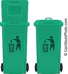 Wheeled bin open